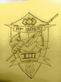 The informal Coat of Arms of the 103th Infantry on the Garlean Imperial Army. Tattooed on Augustus' right biceps.